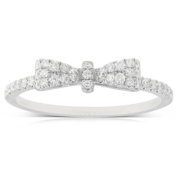 18ct White Gold .31ct Diamond Bow Ring - Walker & Hall