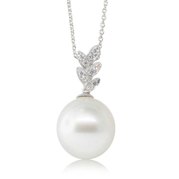 18ct White Gold 14.2mm South Sea Pearl & Diamond Pendant - Walker & Hall