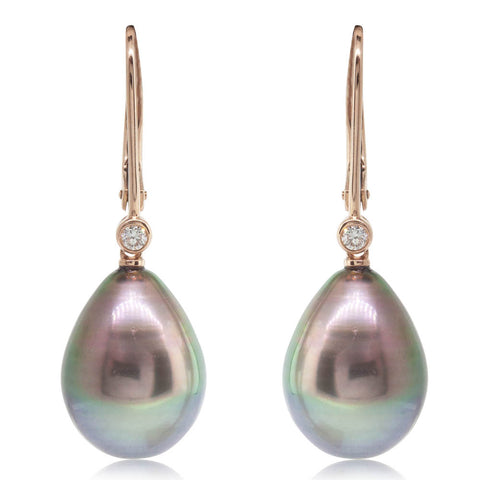 18ct Rose Gold 11.7mm Black Pearl & Diamond Drop Earrings - Walker & Hall