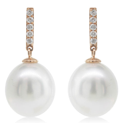 18ct Rose Gold 12mm South Sea Pearl & Diamond Earrings - Walker & Hall