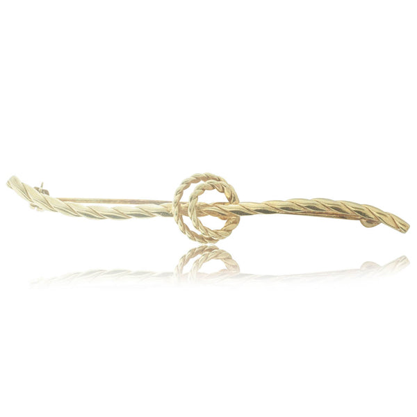 Deja Vu 14ct Yellow Gold Rope Knot Brooch - Walker & Hall