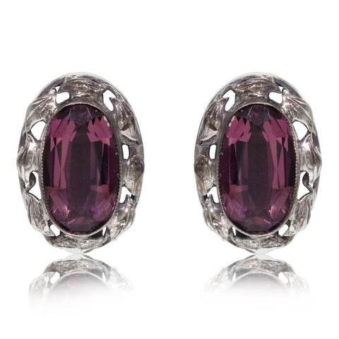 Deja Vu Sterling Silver Amethyst Clip On Earrings - Walker & Hall