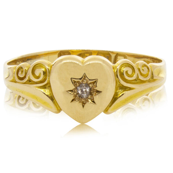 Vintage 18ct Yellow Gold Diamond Heart Signet Ring - Walker & Hall