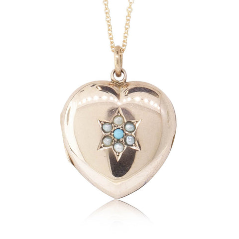 Vintage 9ct Yellow Gold Turquoise & Seed Pearl Heart Shaped Locket - Walker & Hall