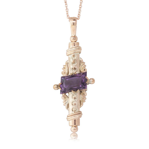 Vintage 9ct Rose Gold Amethyst Pendant - Walker & Hall