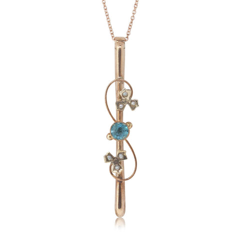 Vintage 9ct Rose Gold Blue Topaz & Pearl Pendant - Walker & Hall