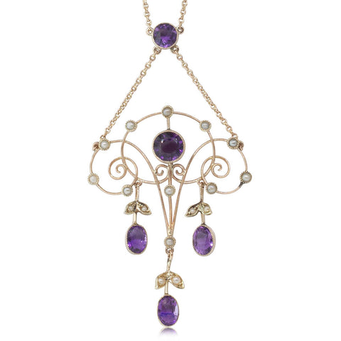 Vintage 9ct Yellow Gold Amethyst & Seed Pearl Pendant - Walker & Hall