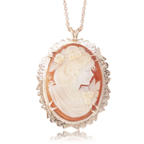 Vintage 9ct Rose Gold Cameo Pendant - Walker & Hall