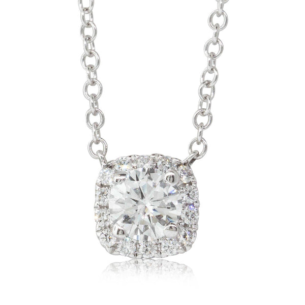 18ct White Gold .38ct Diamond Halo Pendant - Walker & Hall
