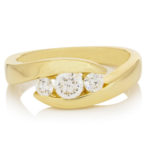 18ct Yellow Gold .30ct Diamond Equinox Ring - Walker & Hall