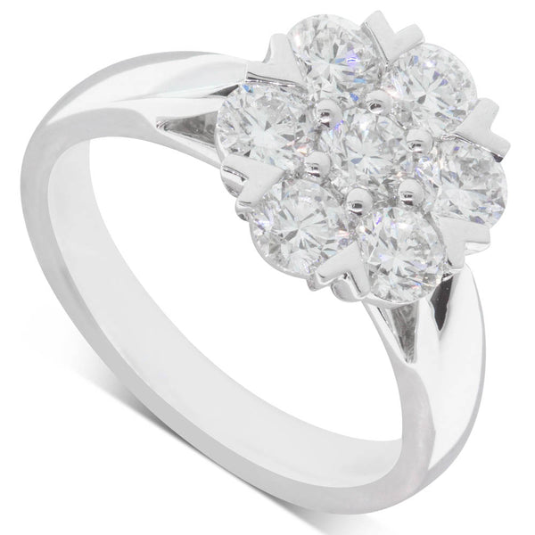 18ct White Gold 1.45ct Diamond Lotus Ring - Walker & Hall