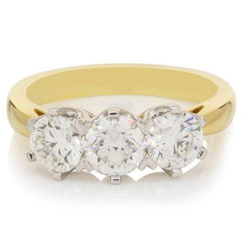 18ct Yellow & White Gold 1.59ct Diamond Trilogy Ring - Walker & Hall