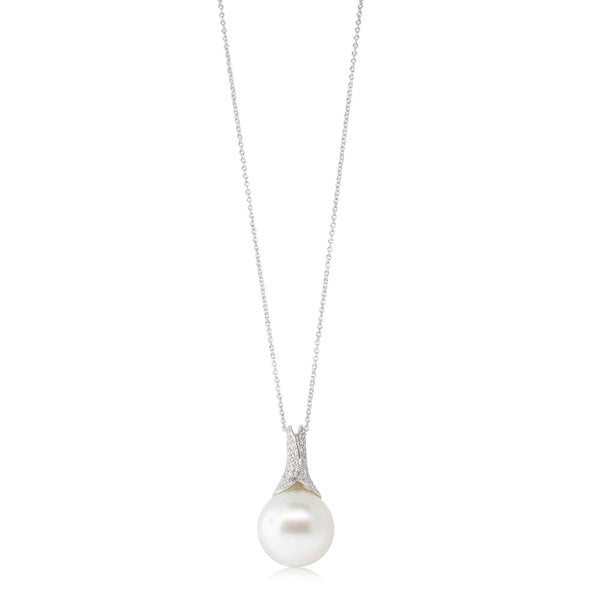18ct White Gold 15.7mm South Sea Pearl & Diamond Pendant - Walker & Hall