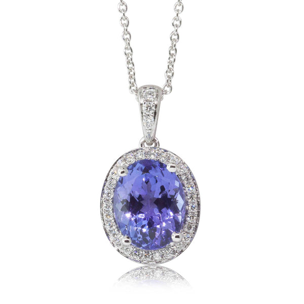 18ct White Gold 3.81ct Tanzanite & Diamond Halo Pendant - Walker & Hall
