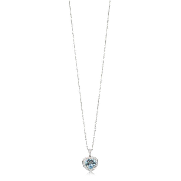 18ct White Gold 1.37ct Aquamarine & Diamond Halo Pendant - Walker & Hall
