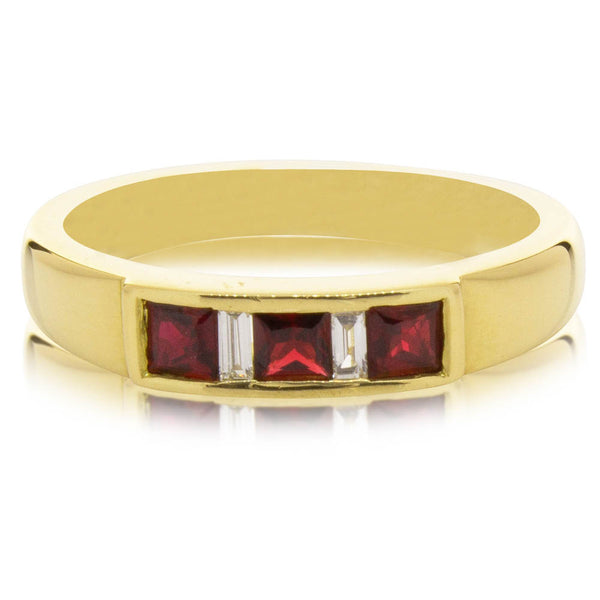 Deja Vu 18ct Yellow Gold .75ct Ruby & Diamond Ring - Walker & Hall