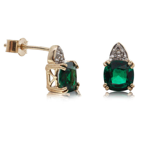 Deja Vu 10ct Yellow Gold Synthetic Emerald & Diamond Studs - Walker & Hall