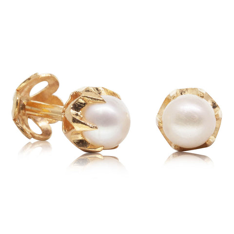 Deja Vu 22ct Yellow Gold Pearl Studs - Walker & Hall