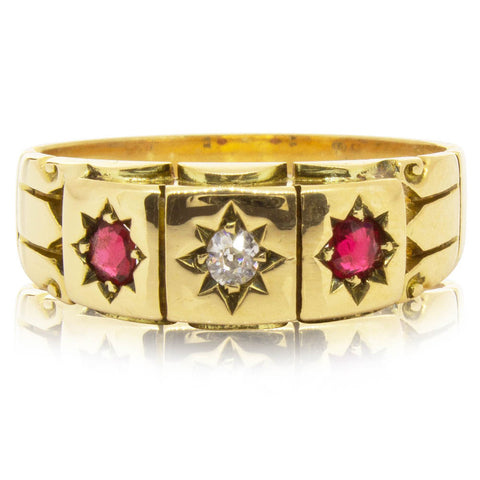Vintage 18ct Yellow Gold Ruby & Diamond Ring - Walker & Hall