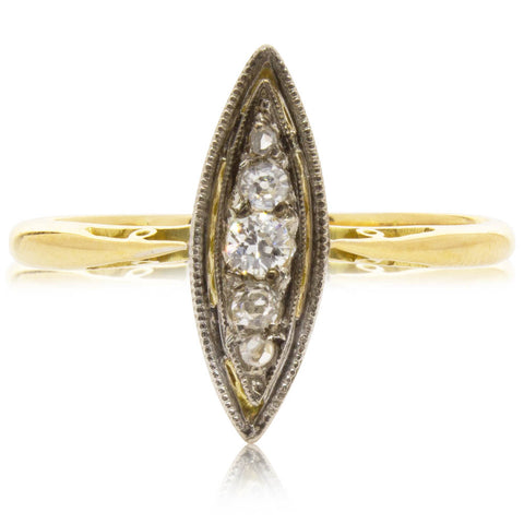 Vintage 18ct Yellow Gold & Platinum .13ct Diamond Cluster Ring - Walker & Hall
