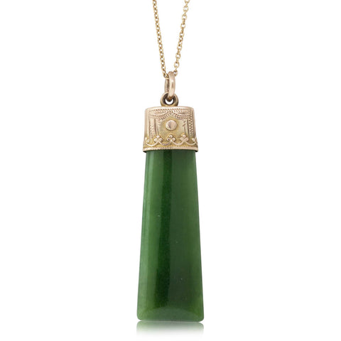 Vintage 9ct Yellow Gold NZ Greenstone Pendant - Walker & Hall