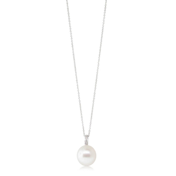 18ct White Gold 12.6mm South Sea Pearl & Diamond Pendant - Walker & Hall