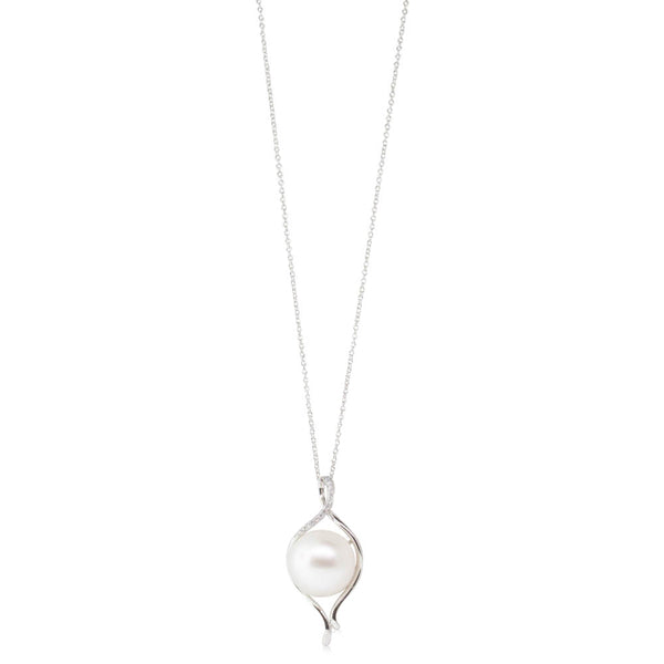 18ct White Gold 13.2mm South Sea Pearl & Diamond Pendant - Walker & Hall