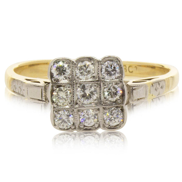 Deja Vu 18ct Yellow Gold & Platinum .36ct Diamond Cluster Ring - Walker & Hall