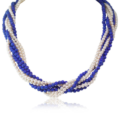 Vintage 14ct Yellow Gold Lapis & Akoya Pearl Strand - Walker & Hall