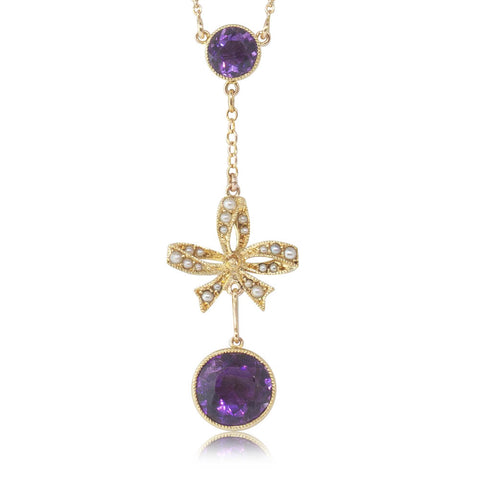 Vintage 15ct Yellow Gold Amethyst & Seed Pearl Pendant - Walker & Hall