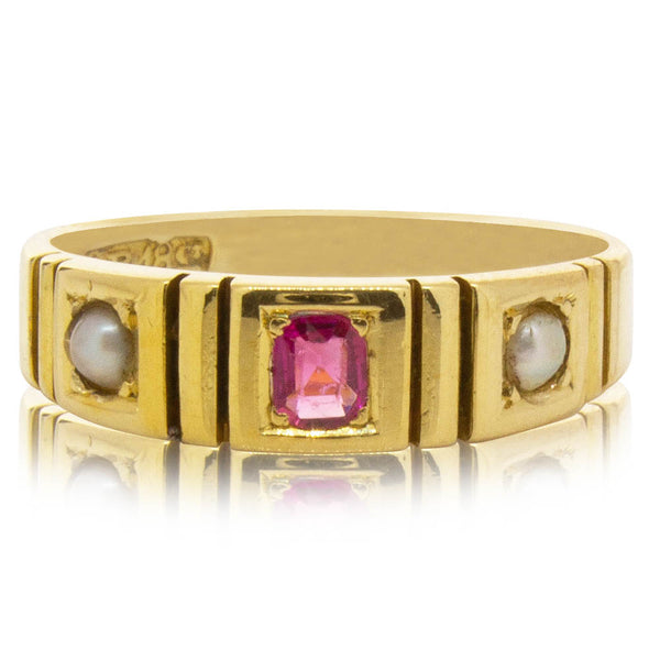 Vintage 18ct Yellow Gold Synthetic Ruby & Pearl Ring - Walker & Hall