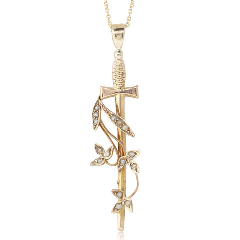 Vintage 9ct Yellow Gold Sword & Seed Pearl Pendant - Walker & Hall