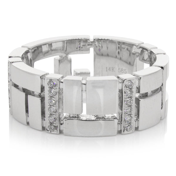 14ct White Gold .13ct Diamond Band - Walker & Hall