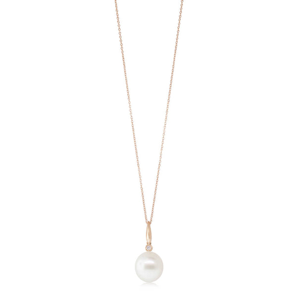 18ct Rose Gold 13.6mm South Sea Pearl & Diamond Pendant - Walker & Hall