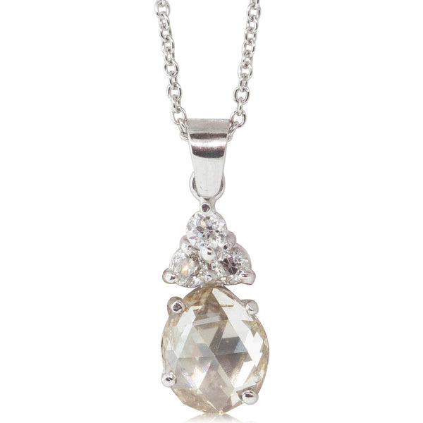 18ct White Gold 1.95ct Diamond Pendant - Walker & Hall