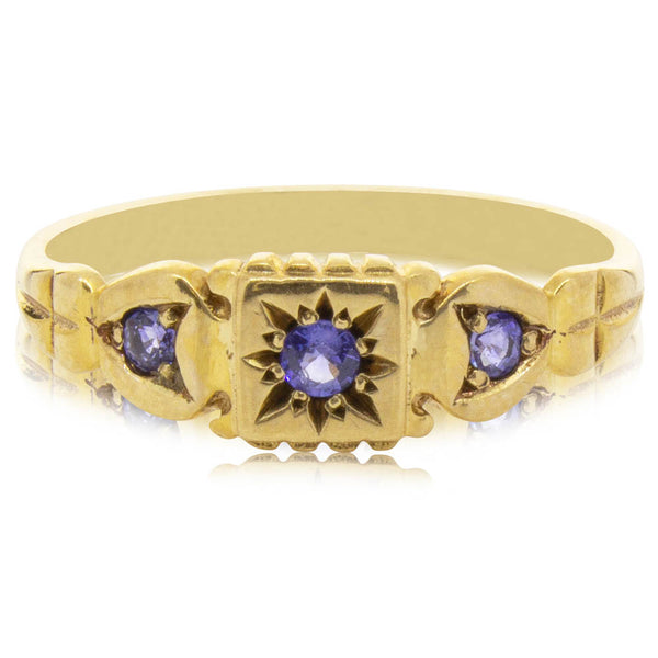 Deja Vu 9ct Yellow Gold Sapphire Trilogy Ring - Walker & Hall