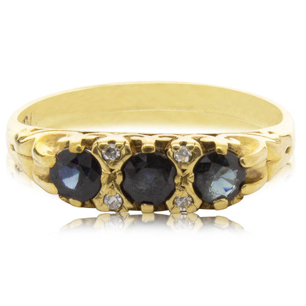 Deja Vu 9ct Yellow Gold Sapphire & Diamond Ring - Walker & Hall