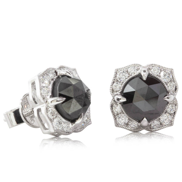 18ct White Gold 3.70ct Black Diamonds Halo Stud Earrings - Walker & Hall