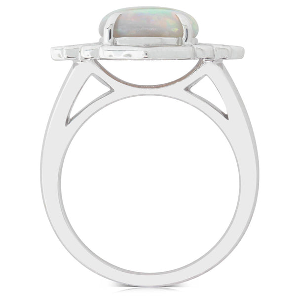 18ct White Gold 2.25ct Opal & Diamond Ring - Walker & Hall