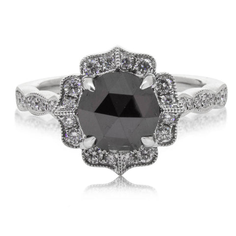 18ct White Gold 1.70ct Black Diamond Paramount Ring - Walker & Hall