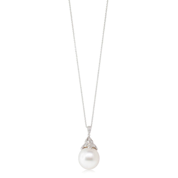 18ct White Gold 15.6mm South Sea Pearl & Diamond Pendant - Walker & Hall