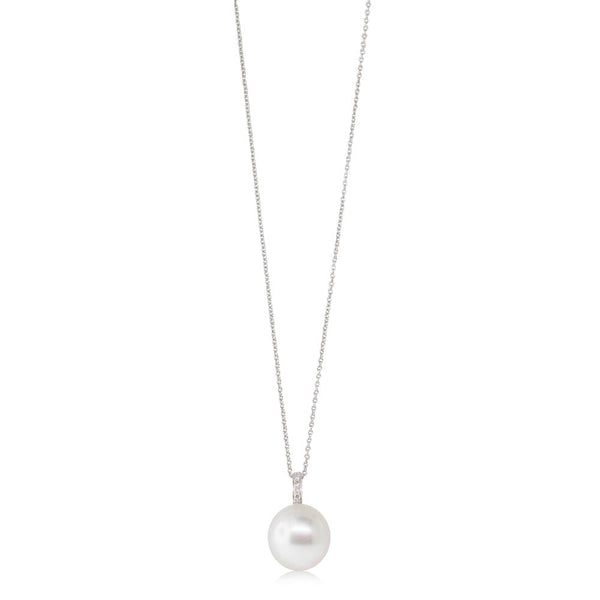 18ct White Gold 13.6mm South Sea Pearl & Diamond Pendant - Walker & Hall