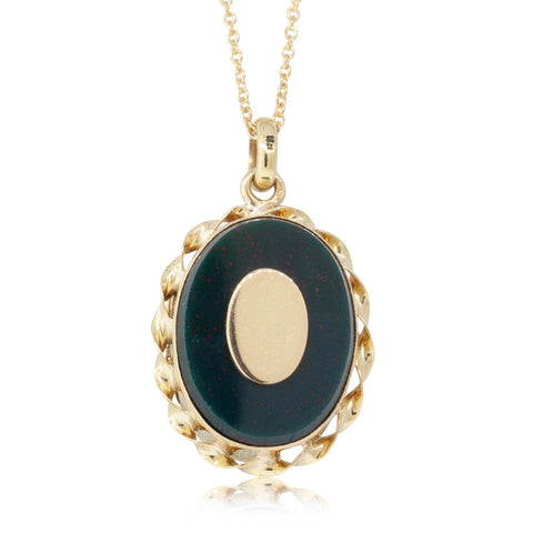 Deja Vu 18ct Yellow Gold Bloodstone Locket - Walker & Hall