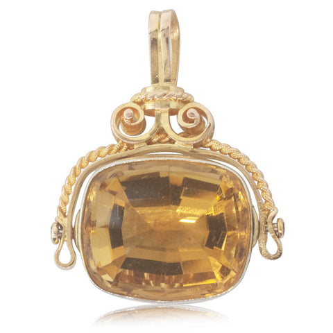 Vintage 9ct Yellow Gold Citrine Spinner Pendant - Walker & Hall