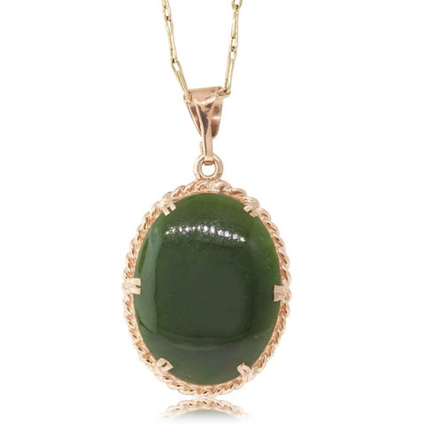 Deja Vu 9ct Yellow Gold Greenstone Pendant - Walker & Hall