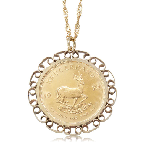 Deja Vu 22ct Yellow Gold Krugerrand Pendant - Walker & Hall