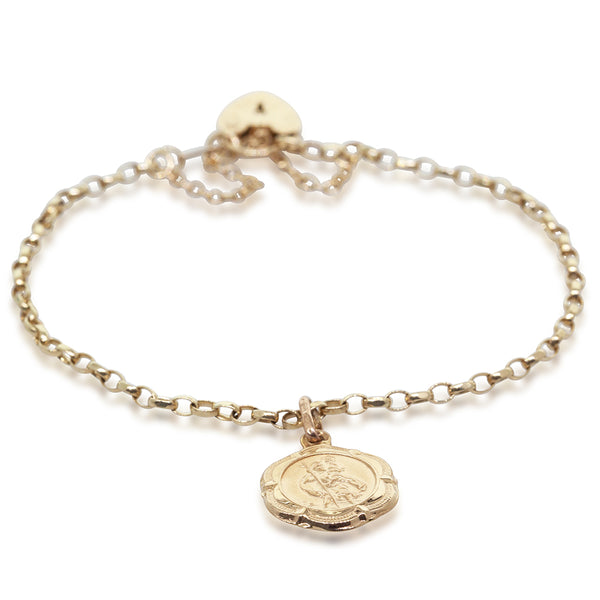Deja Vu 9ct Yellow Gold Belcher Bracelet With St Christopher Charm - Walker & Hall