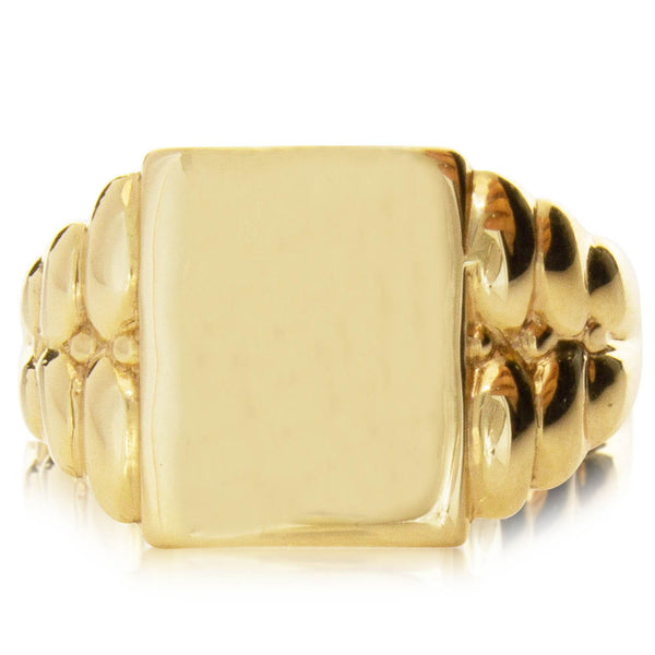 Deja Vu 9ct Yellow Gold Signet Ring - Walker & Hall