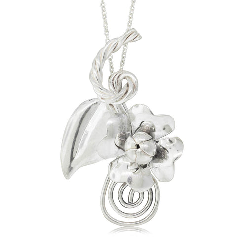 Deja Vu Sterling Silver Flower Pendant - Walker & Hall