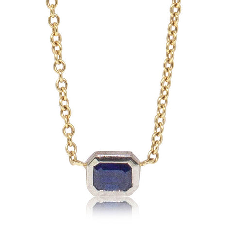 Deja Vu 18ct White & Yellow Gold Sapphire Pendant - Walker & Hall